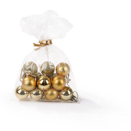 Bombki małe złote / czerwone zestaw