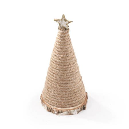 Choinka stożek ze sznurka z gwiazdką 20cm