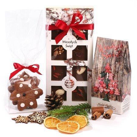 Świąteczny zestaw prezentowy - Czekolada z maufaktury z kawą i piernikami